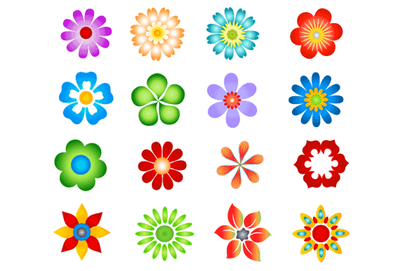 Abstract Flower Icons Stock Vector: Graphstock